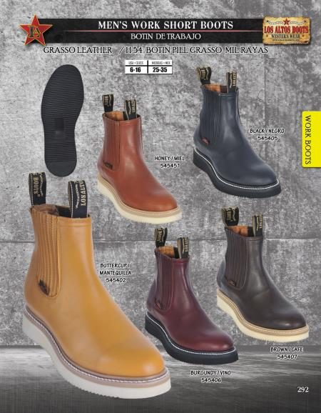Los Altos Mens Leather Work Short Boots Vibran Sole Diff. Colors/Sizes