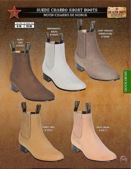 Los Altos Mens Suede Charro Short Boots Diff. Colors/Sizes