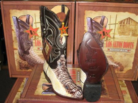 Los Altos Natural Genuine Crocodile Western Cowboy Boot (D)