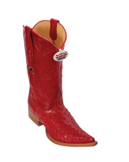 Los Altos Red Ostrich Cowboy Boots