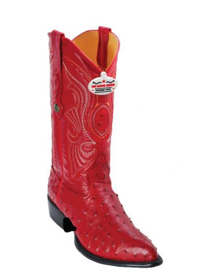 Los Altos Red Ostrich JToe Cowboy Boots