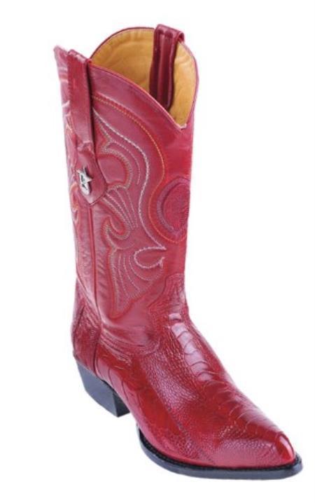 Los Altos Red Ostrich Leg Cowboy Boots