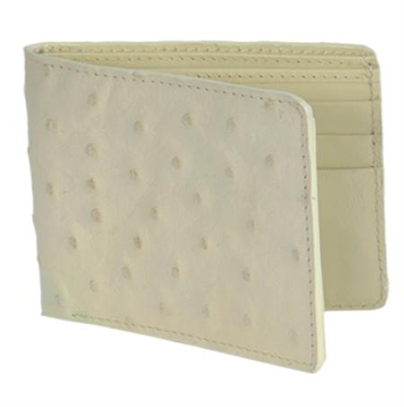 Los Altos WinterWhite Genuine Ostrich Card Holder Wallet