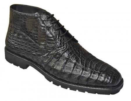 Made In Italy Designer Mauri Los Altos Black All-Over Genuine Crocodile Ankle Boots