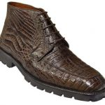 Made In Italy Designer Mauri Los Altos Brown All-Over Genuine Crocodile Ankle Boots