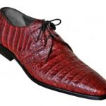 Made In Italy Designer Mauri Los Altos Burgundy Genuine All-Over Crocodile Belly Shoes