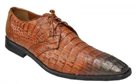 Made In Italy Designer Mauri Los Altos Cognac / Black Shaded All Over Genuine Hornback Crocodile Shoes