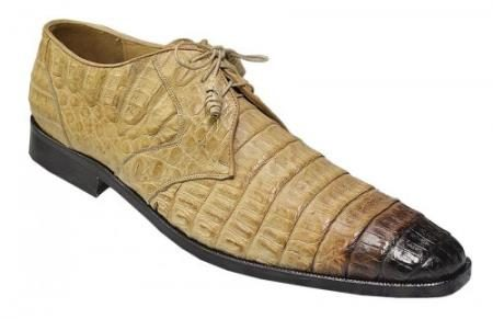 Made In Italy Designer Mauri Los Altos Oryx / Black Shaded All Over Genuine Hornback Crocodile Shoes