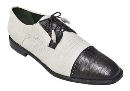 Made In Italy Designer Mauri Los Altos White / Black Genuine Crocodile Belly & Lizard Shoes