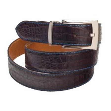 Matte Crocodile alligator Belt in blackblue, brownblue,navyblue
