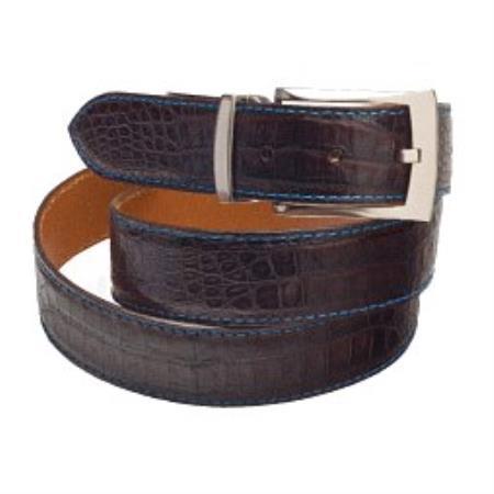 Matte Crocodile alligator Belt in blackblue, brownblue,navyblue