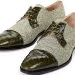 Mauri Brunico Italy Mens Alligator And Fabric Cap Toe Spectator Dress Shoes Green