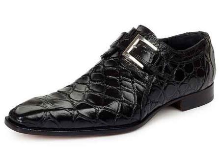 Mauri Italy Mens Alligator Skin Strap Dress Shoes Saga Black ... ab7f26e9ccc