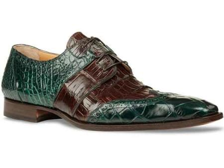 Mauri Mens Italy Alligator Skin Wingtip Shoes Forrest Green/Brown