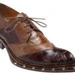 Mauri Mens Italy Tri Tone Alligator Ostrich Leather Sole Brown Shoes