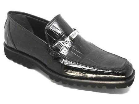 Mauri Spada Italy Mens Black Alligator Casual Loafers Slip-On Shoes