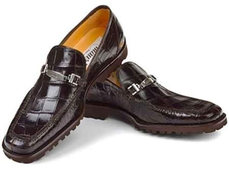 Mauri Spada Italy Mens Calfskin Linings Brown Alligator Casual Loafers Slip On Shoes