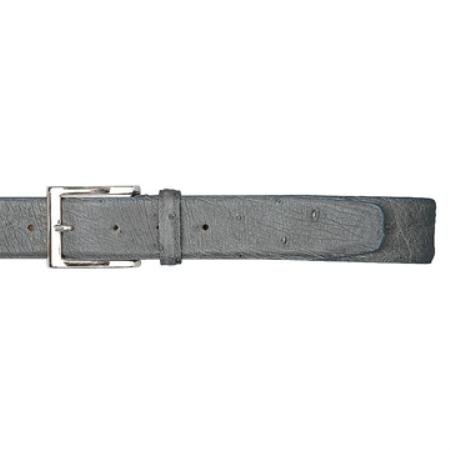 Medium Grey Genuine Ostrich Belt