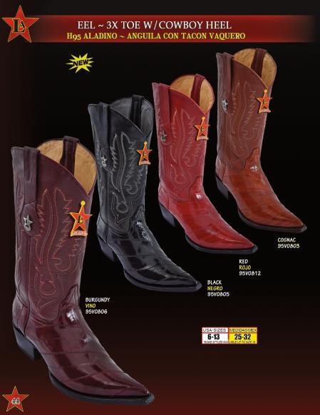 Mens 3X Toe Genuine Eel w/ Cowboy Heel Western Boots Diff. Colors