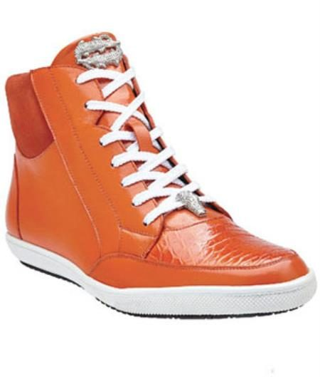 Mens Belvedere Franco Crocodile & Soft Calfskin High Top Sneakers Orange