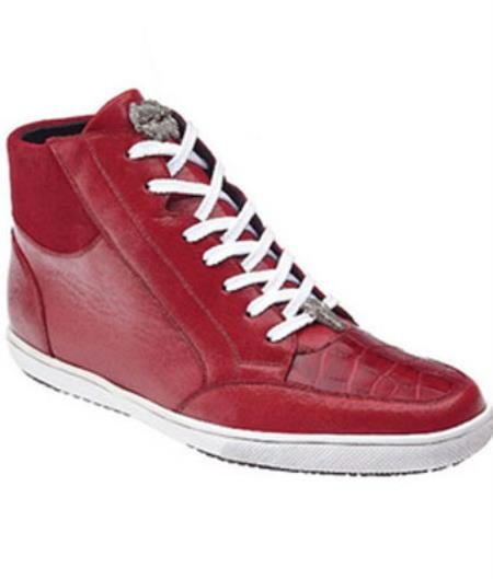Mens Belvedere Franco Crocodile & Soft Calfskin High Top Sneakers Red