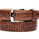 Mens belvedere suprimo genuine crocodile antique saddle belt