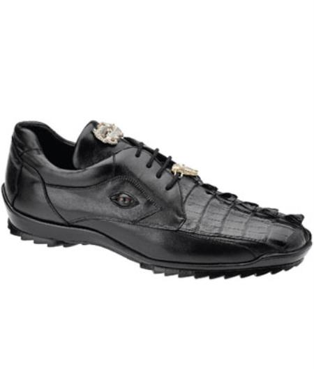 Mens Belvedere Vasco Hornback & Calfskin Sneakers Black