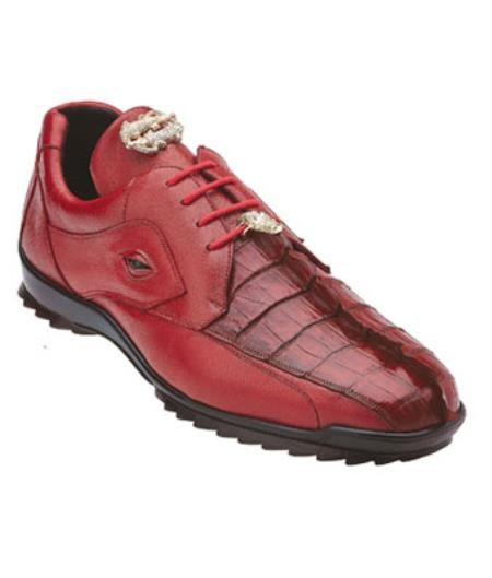Mens Belvedere Vasco Hornback & Calfskin Sneakers Red