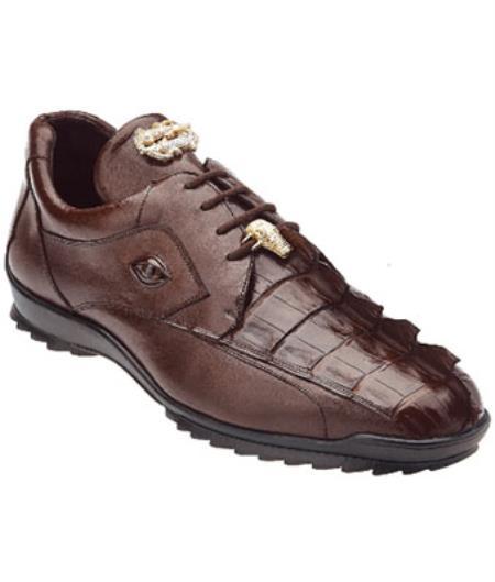 Mens Belvedere Vasco Hornback & Calfskin Sneakers Tabac