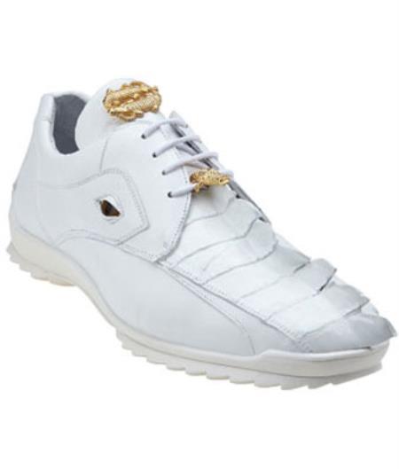 Mens Belvedere Vasco Hornback & Calfskin Sneakers White