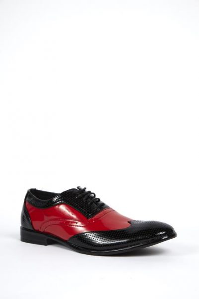 Mens Black and Red Wingtip Shoes