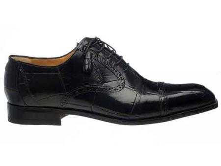 Mens Black Cap Toe Italian Style Lace Up Alligator Belly Shoes