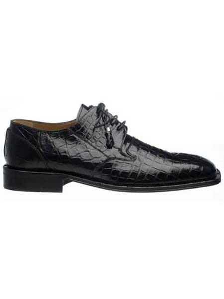 Mens Black Classic Italian Lace Up Design Square Toe Alligator Shoes