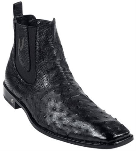 Mens Black Full Quill Ostrich Dressy Boot 417