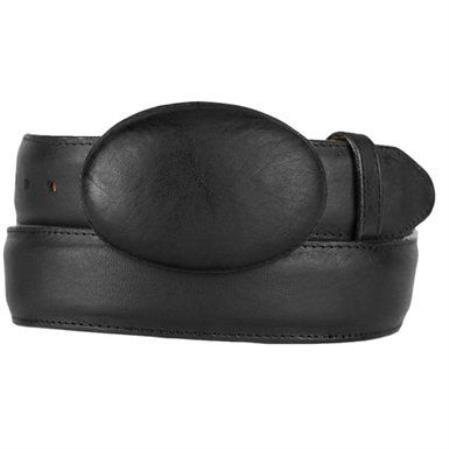 Mens black original leather western style hand crafted belt