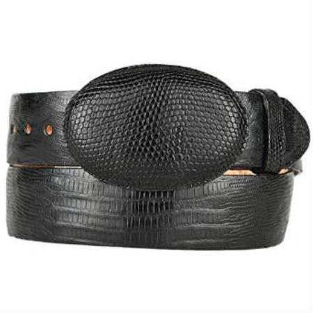 Mens black original lizard teju skin western style hand crafted belt