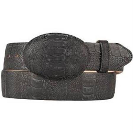 Mens black original ostrich leg skin western style belt
