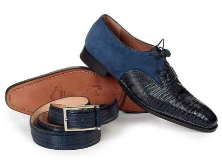 Mens Blue Mauri Italy Lizard Skin And Suede Leather Dress Shoes
