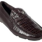 Mens Brown Genuine Caimen Belly Driver 277