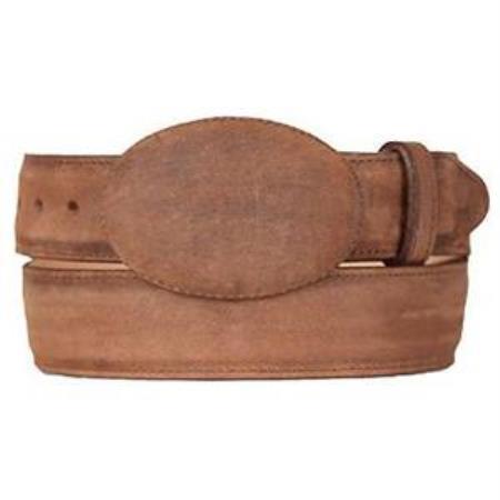 Mens brown original leather western style belt