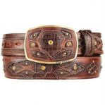Mens brown original lizard teju skin fashion western belt