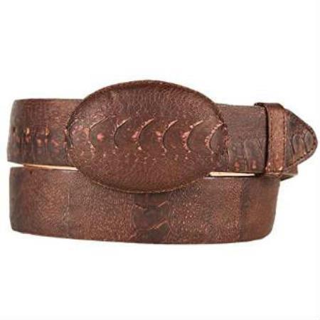 Mens brown original ostrich leg skin western style belt