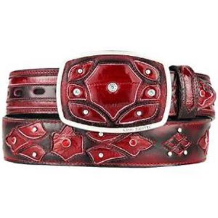 Mens burgundy original eel skin fashion western belt