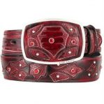 Mens burgundy original ostrich leg skin fashion western belt