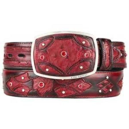 Mens burnished burgundy ostrich full quill skin fashion western belt