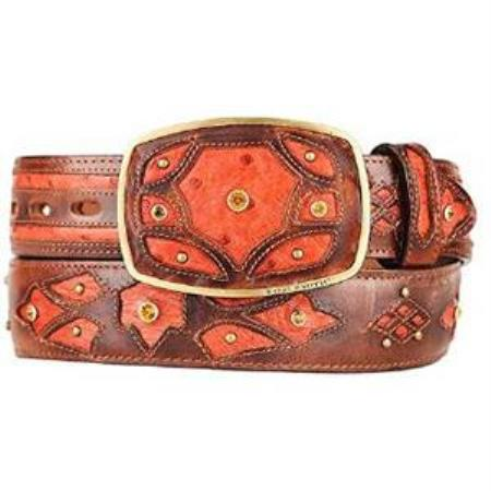 Mens burnished cognac ostrich full quill skin fashion western belt