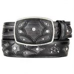 Mens burnished gray original eel skin fashion western belt