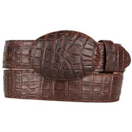 Mens caiman belly western style printed pattern belt brown