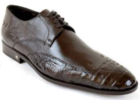 Mens Caiman (Gator) Belly Skin Brown Dress Shoe