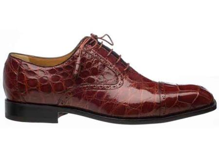 Mens Cap Toe Alligator Belly Skin Italian Style Lace Up Rust Shoes